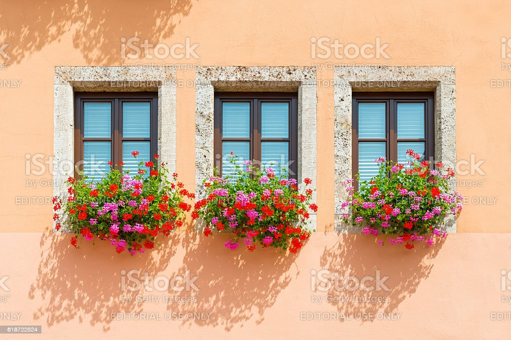 Beautiful Windows with flowers from Bavaria stock photo