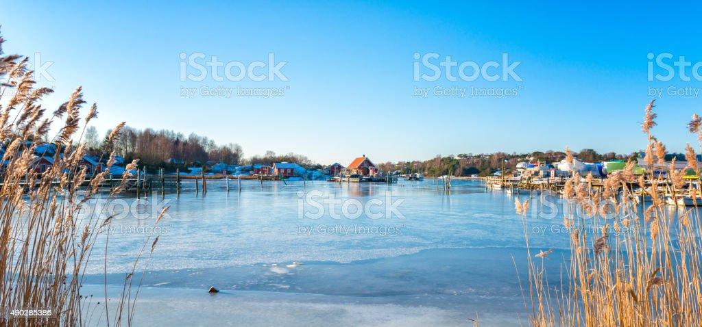 Beautiful winter day at the marina stock photo