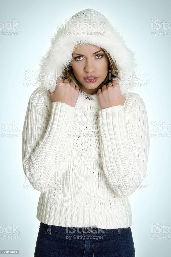 Beautiful winter lady stock photo