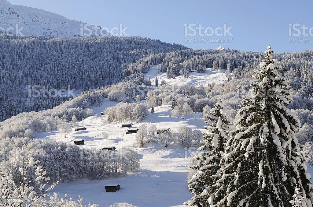 Beautiful Winter Landmarks Swiss Alps Davos stock photo