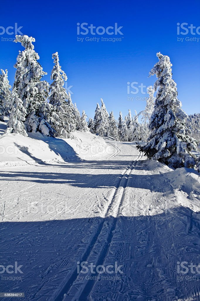 Beautiful winter landscape in the mountains cross county skiing stock photo