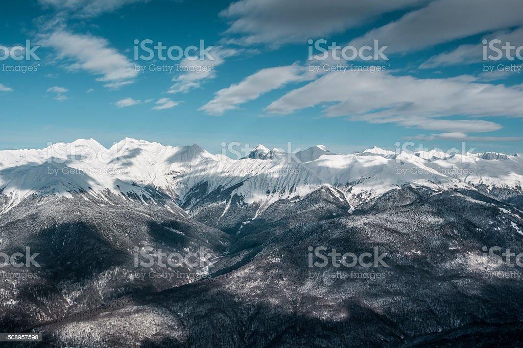 Beautiful winter landscape of mountains peaks stock photo
