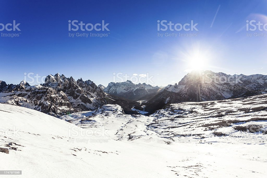Beautiful Winter Landscape of the Dolomites, Italy royalty-free stock photo