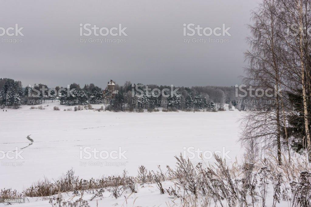Beautiful winter landscape on a big river. stock photo