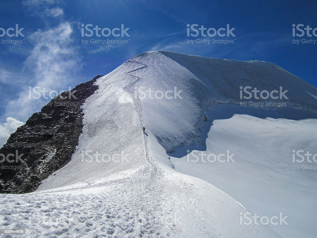 Beautiful winter landscape Snow on the top of Alps Mountains stock photo
