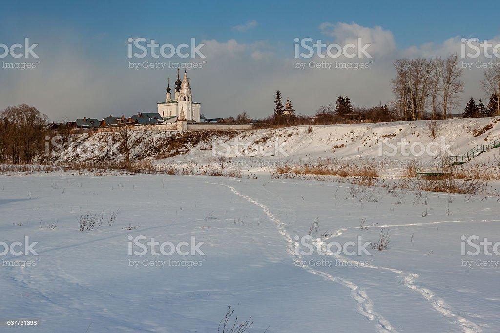 Beautiful winter landscape with Church. stock photo