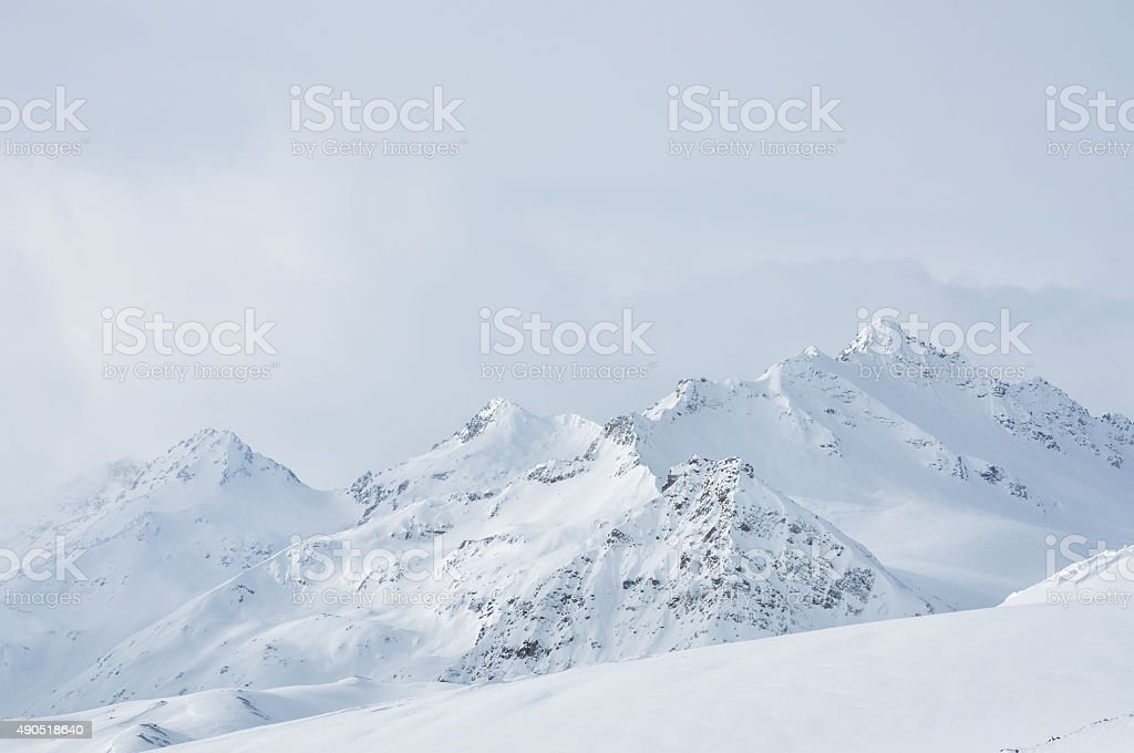 Beautiful winter landscape with snow-covered mountains stock photo