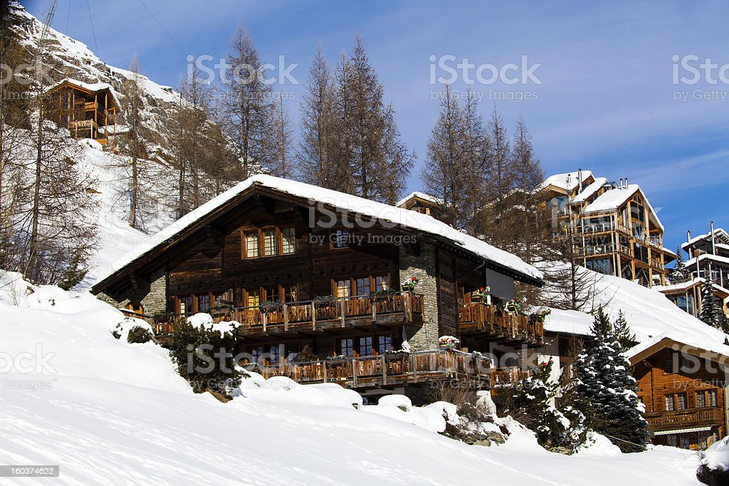 Beautiful winter landscape. Zermatt , Switzerland. royalty-free stock photo