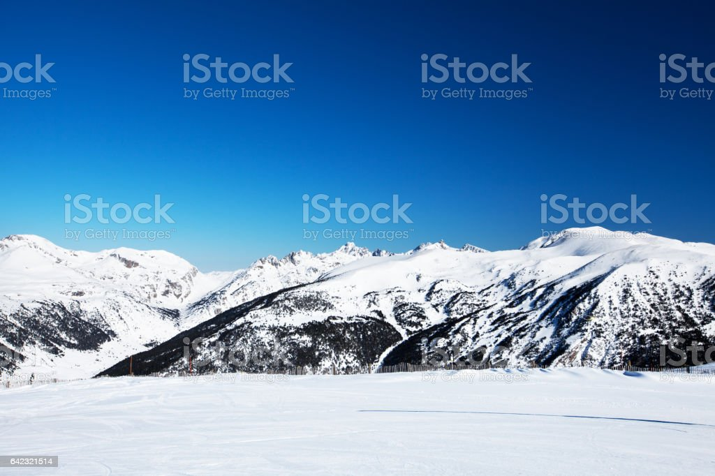 Beautiful winter mountains on a bright sunny day stock photo