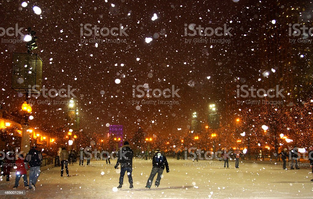 Beautiful winter night in Chicago. stock photo