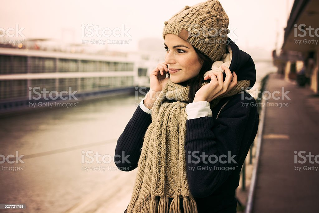 Beautiful winter portrait of young woman stock photo