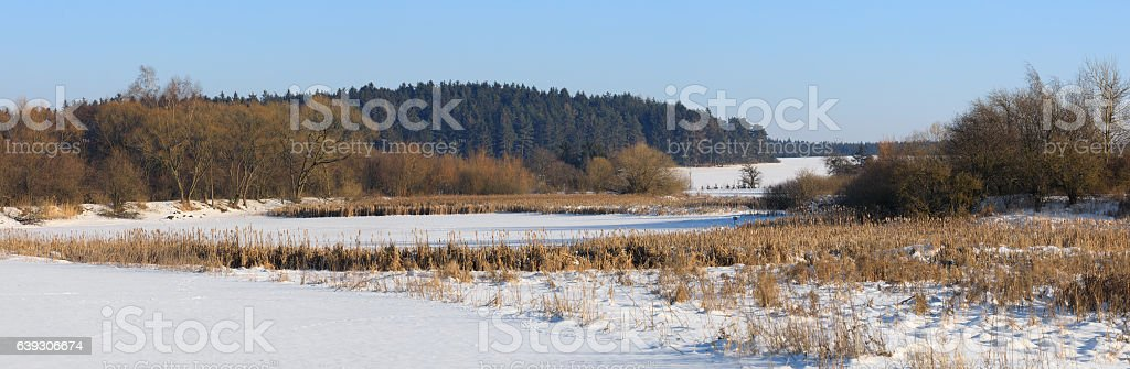 Beautiful winter rural landscape with pond stock photo