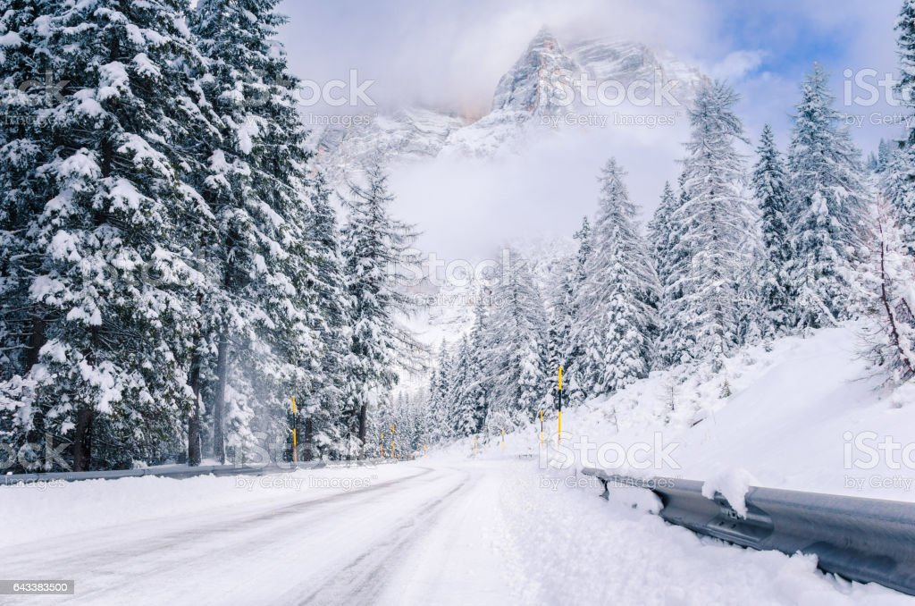 Beautiful Winter Scene with an Snowy Winding Mountain Road through a Forest stock photo