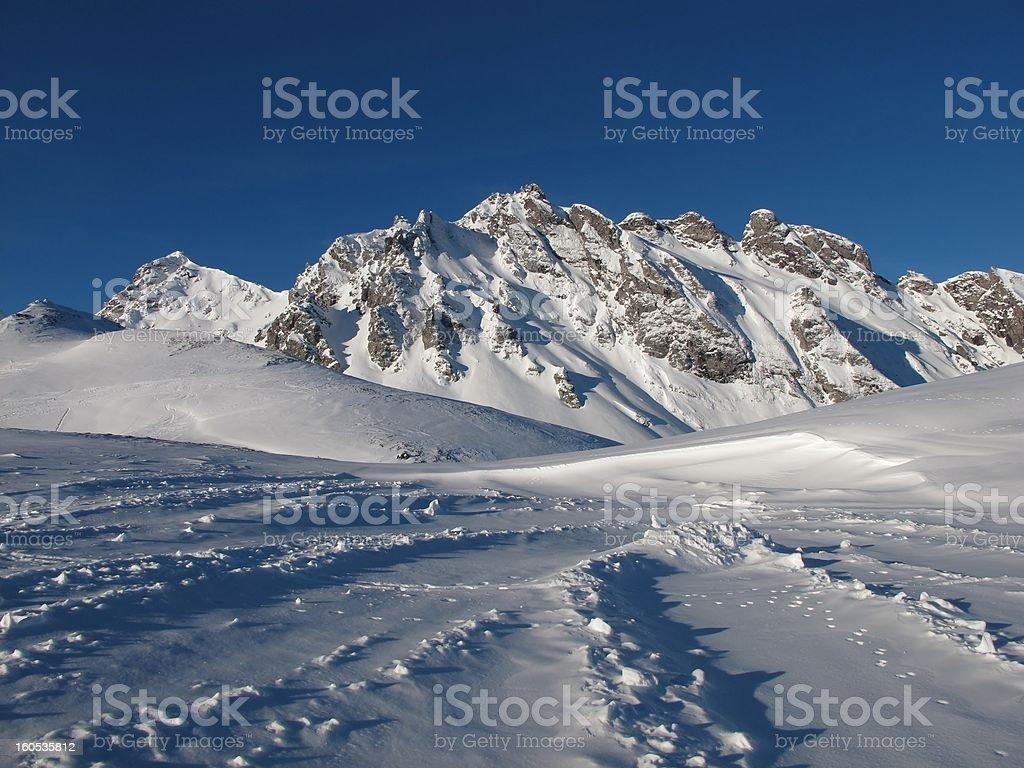Beautiful Winter Scenery In The Pizol Region stock photo