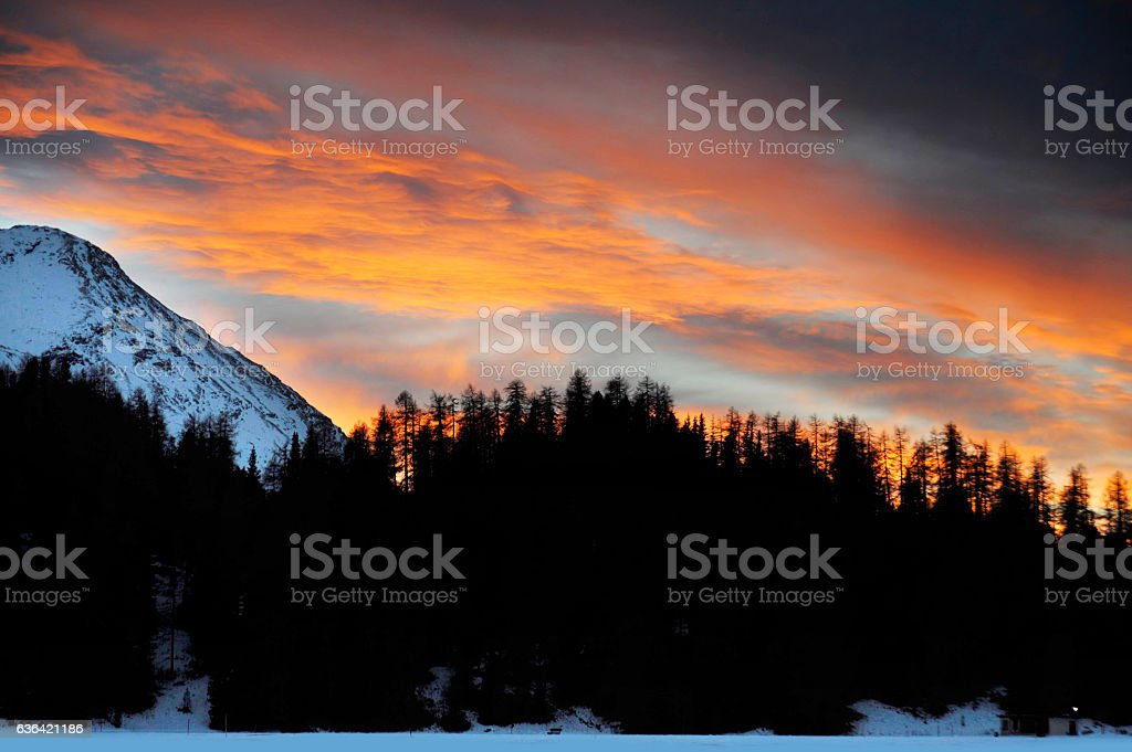beautiful winter sunset mountains and forest in Switzerland Alps region stock photo