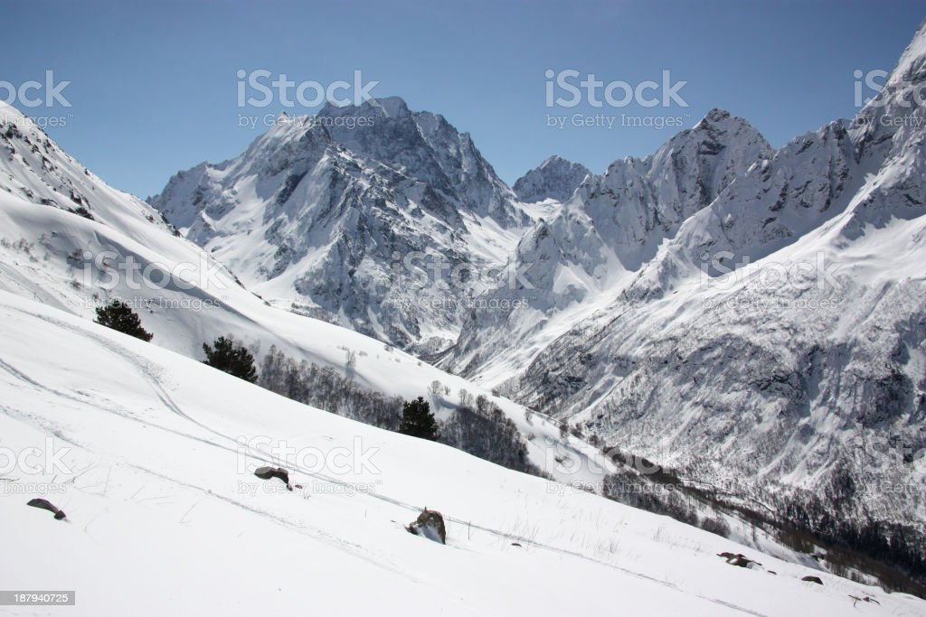 Beautiful winter view of snow-capped mountains stock photo