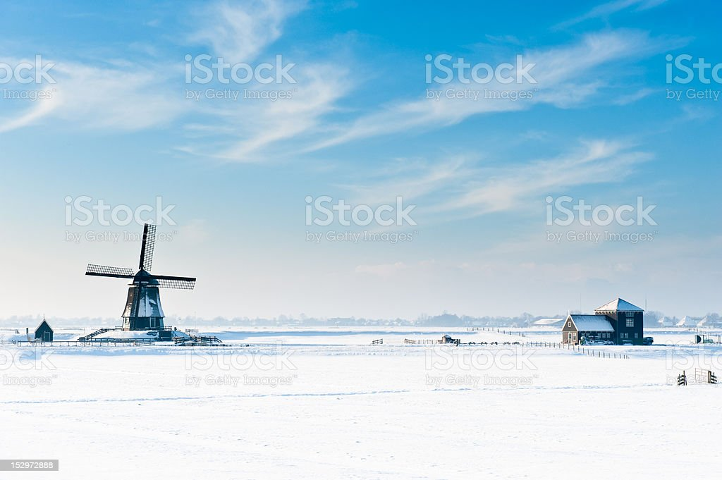 Beautiful winter windmill landscape stock photo