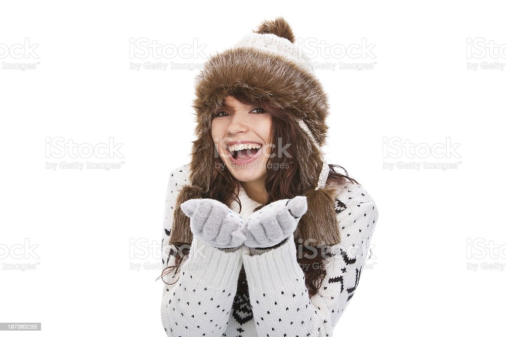 Beautiful winter woman portrait royalty-free stock photo
