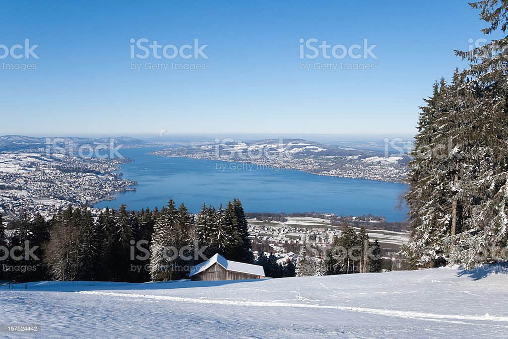 Beautiful Winterday, perfect Mountain View all over Lake of Zurich stock photo