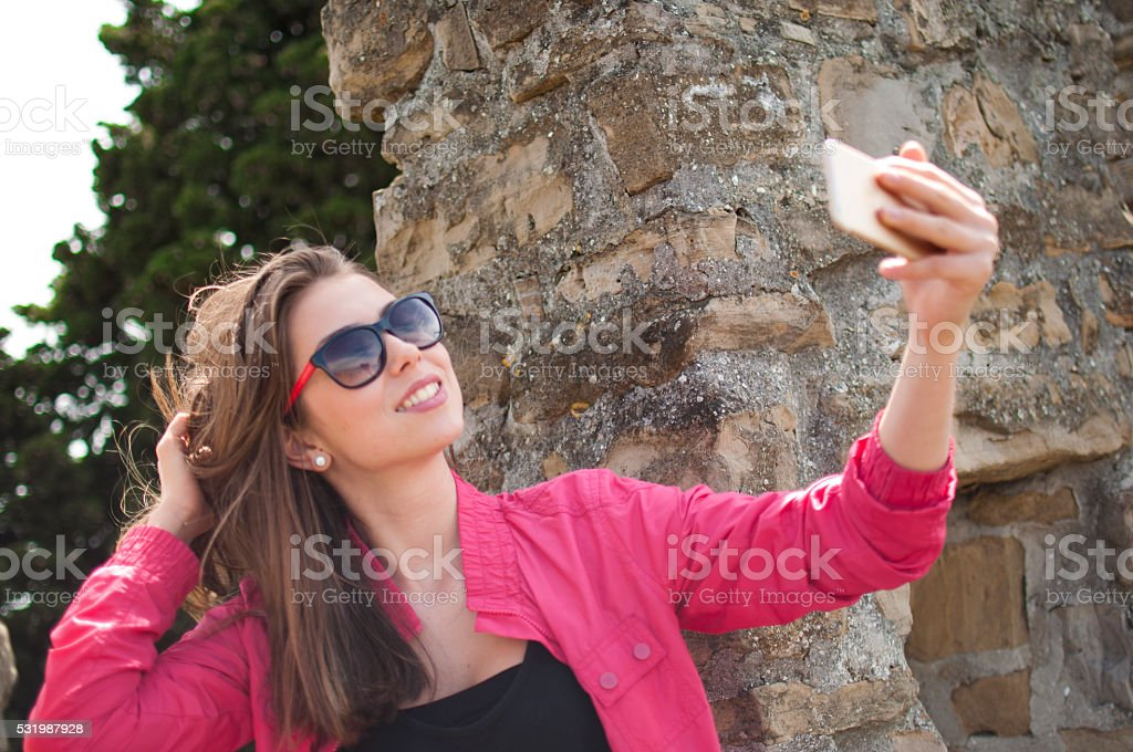 Beautiful with a smile on her face stock photo