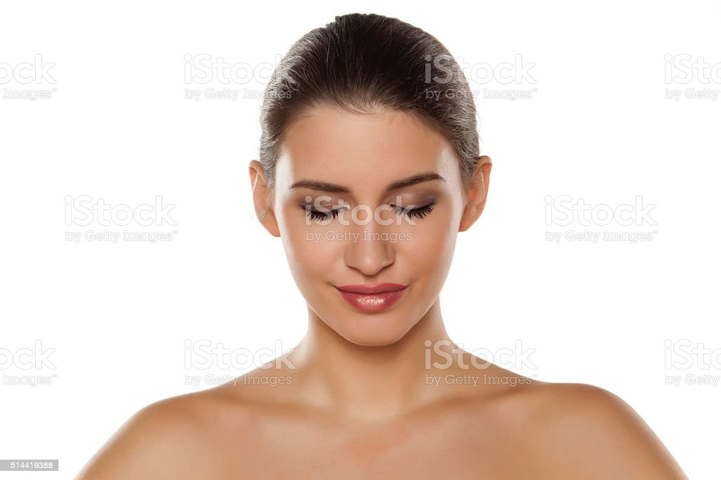 beautiful with closed eyes stock photo