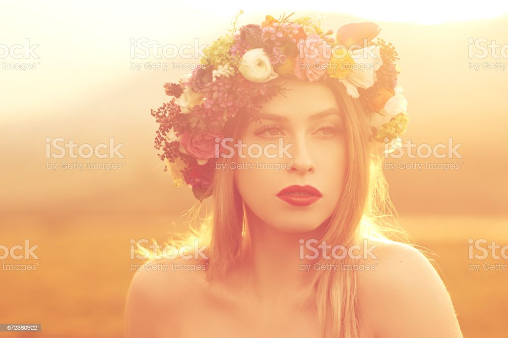 beautiful with her flower crown stock photo