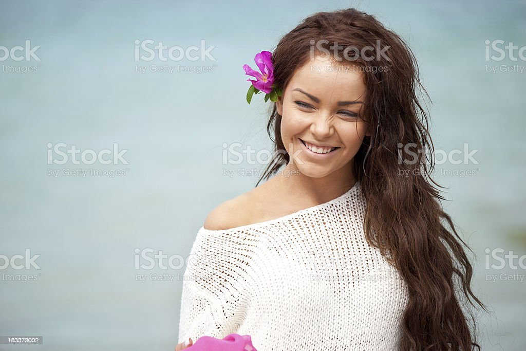 Beautiful Woman adn the Sea royalty-free stock photo