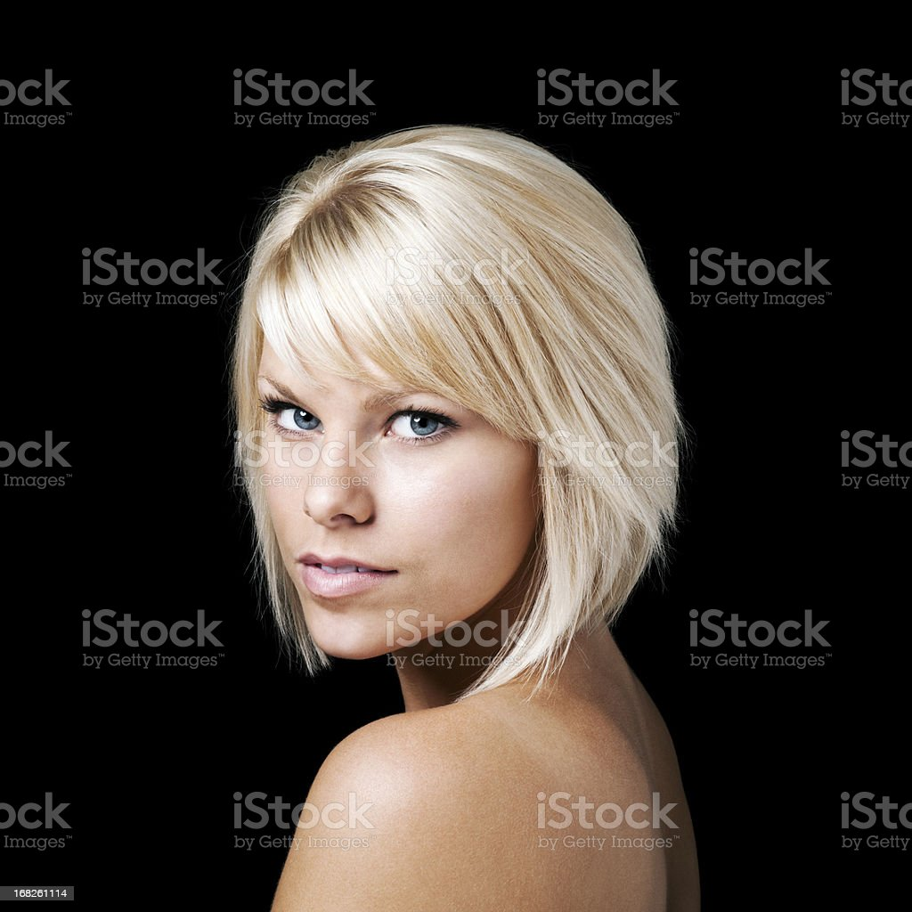 Beautiful Woman Against Black Background royalty-free stock photo