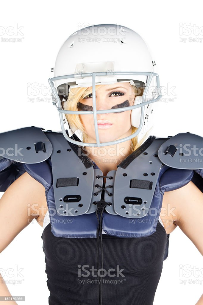 Beautiful Woman American Football Player royalty-free stock photo