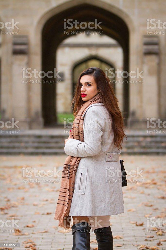 Beautiful Woman and Architecture stock photo