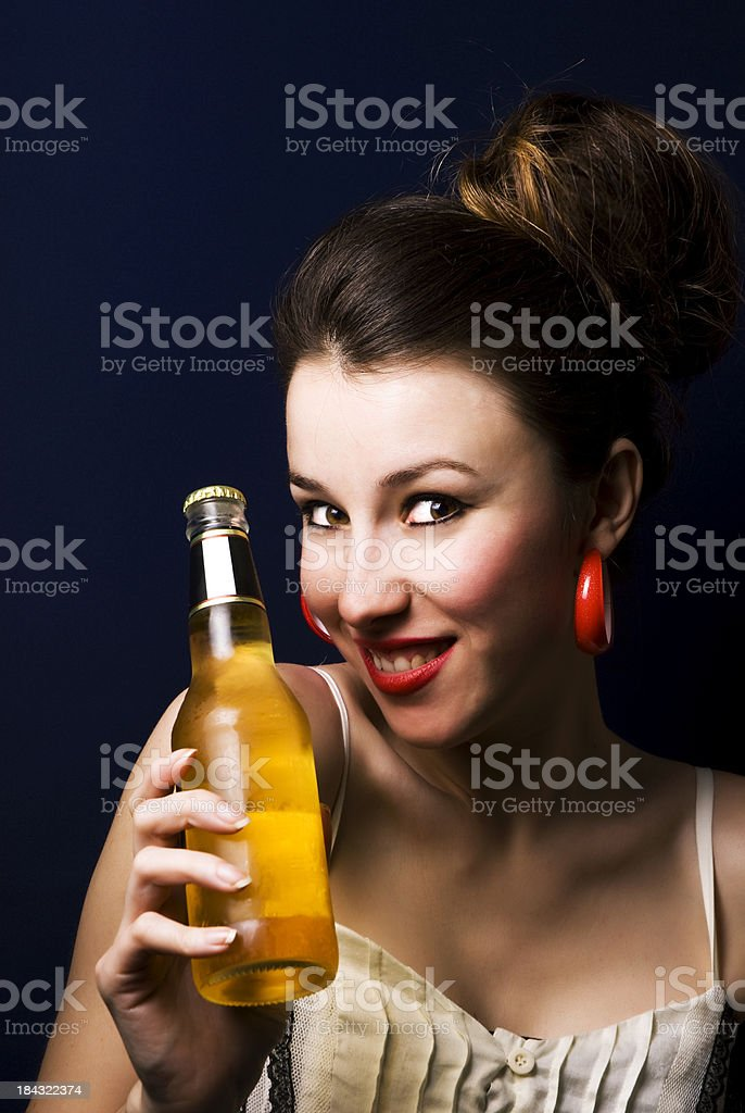 Beautiful Woman and Beer royalty-free stock photo