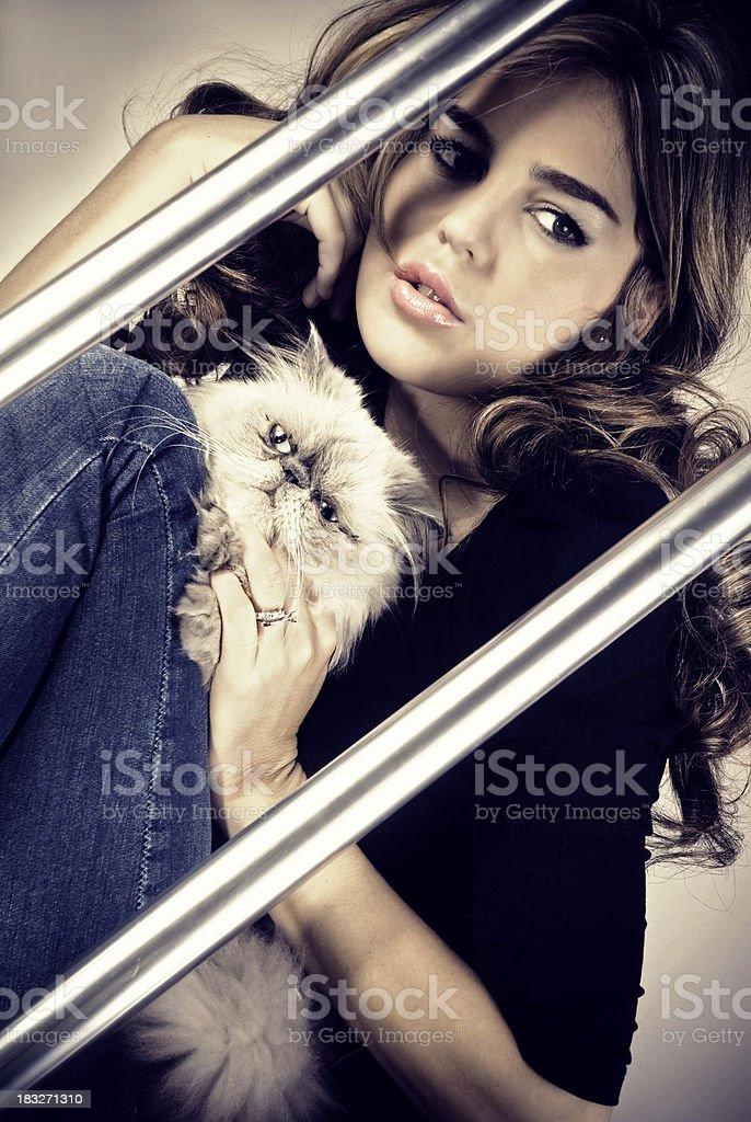 Beautiful woman and cat stock photo