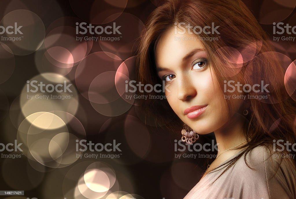Beautiful woman and glamour city night lights royalty-free stock photo