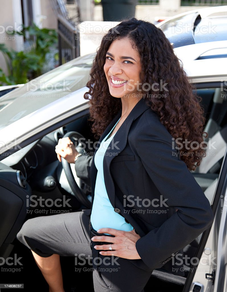 Beautiful woman and her car royalty-free stock photo