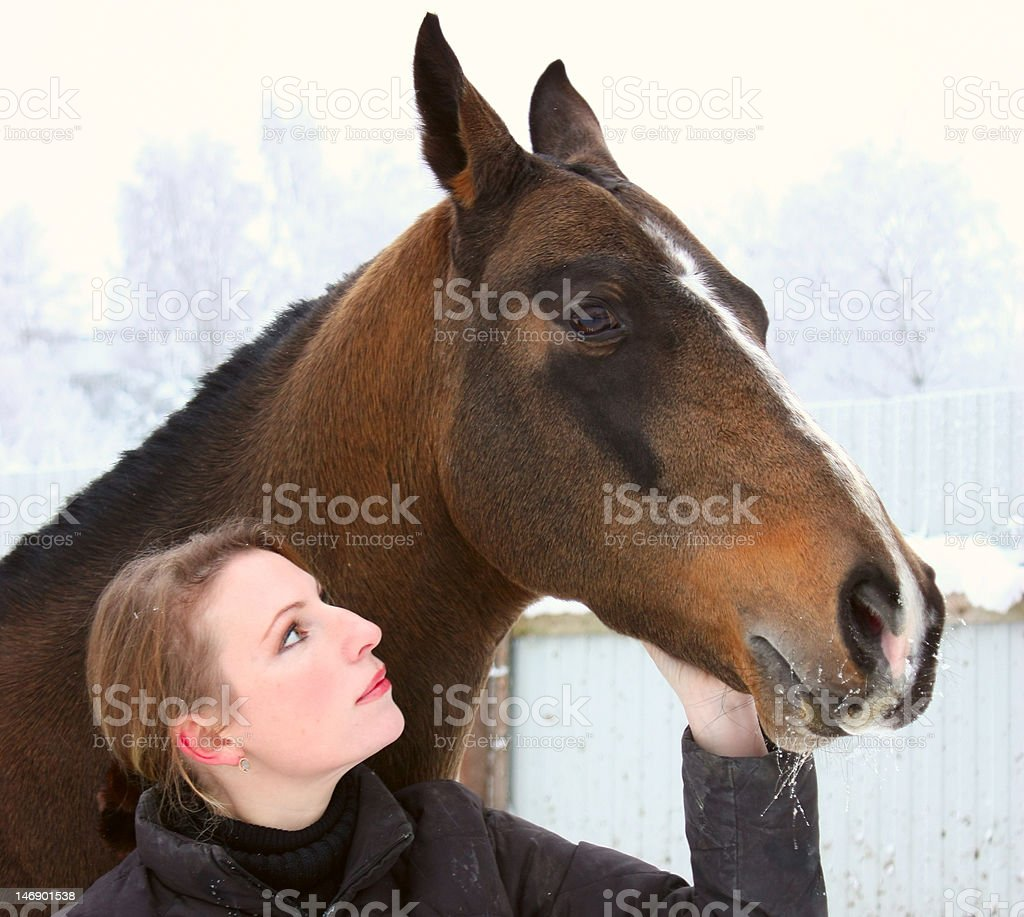 Beautiful woman and her horse_02 royalty-free stock photo