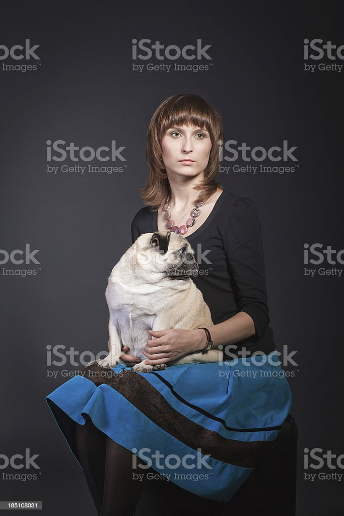 Beautiful woman and her pet stock photo