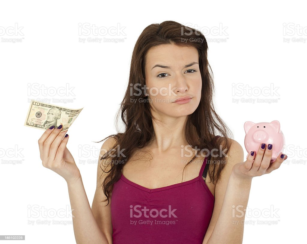 Beautiful Woman and money Pig royalty-free stock photo