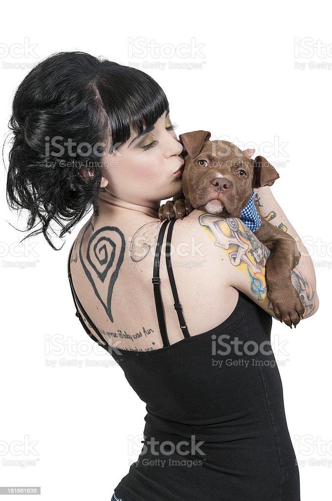 Beautiful Woman and Pit Bull Puppy stock photo