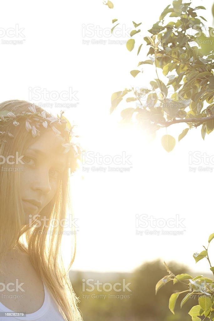 Beautiful woman and sunbeams royalty-free stock photo