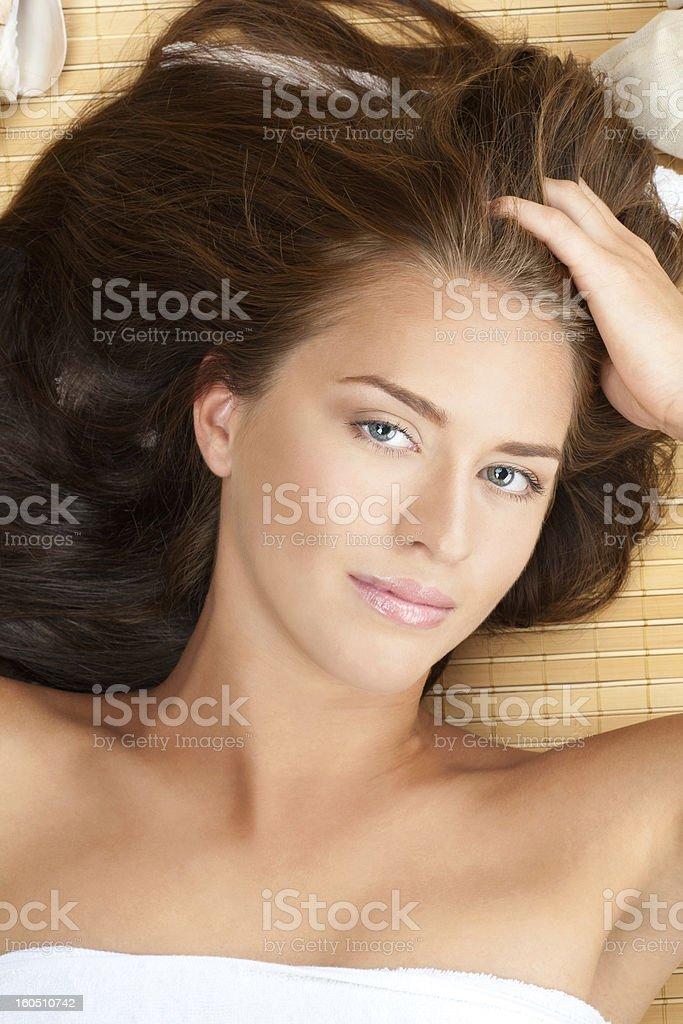 Beautiful woman at a spa salon royalty-free stock photo