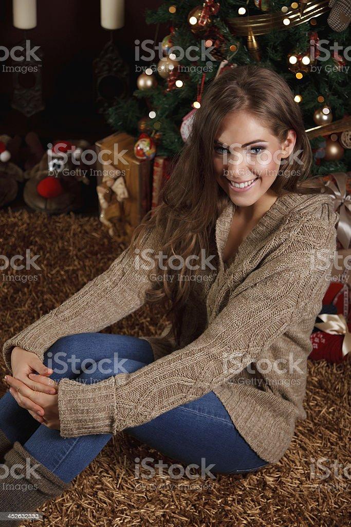 Beautiful woman at Christmas royalty-free stock photo