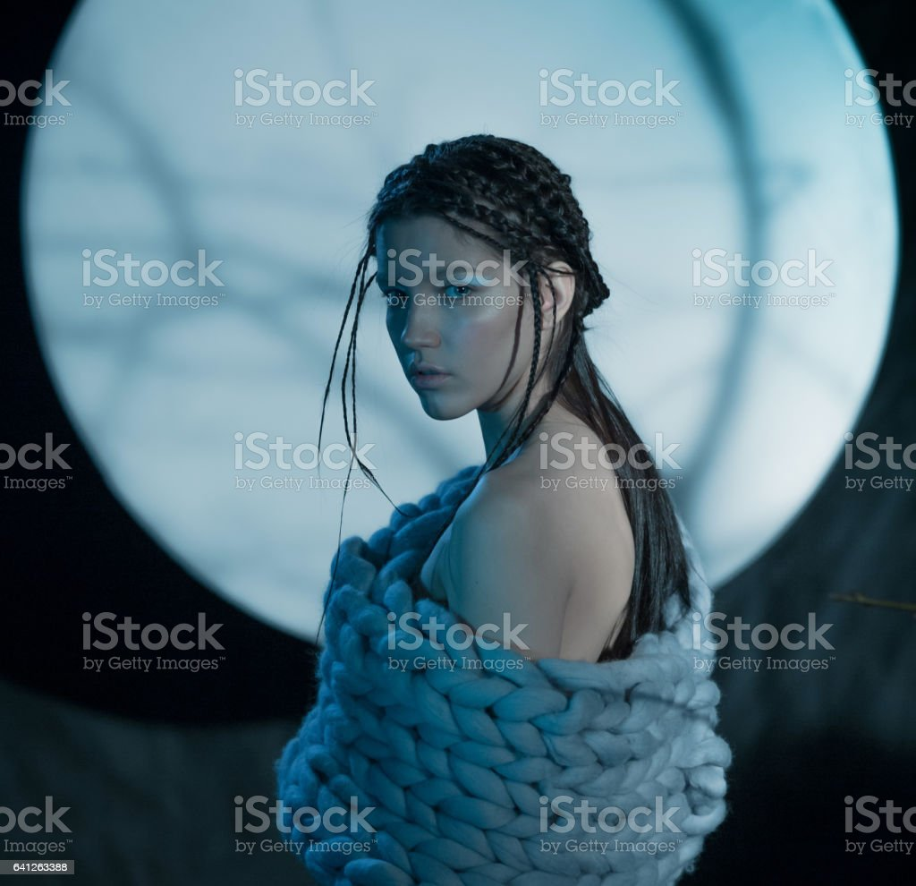 Beautiful Woman At Full Moon Background stock photo
