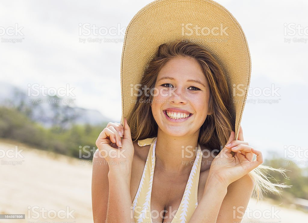 Beautiful Woman at the Beach royalty-free stock photo