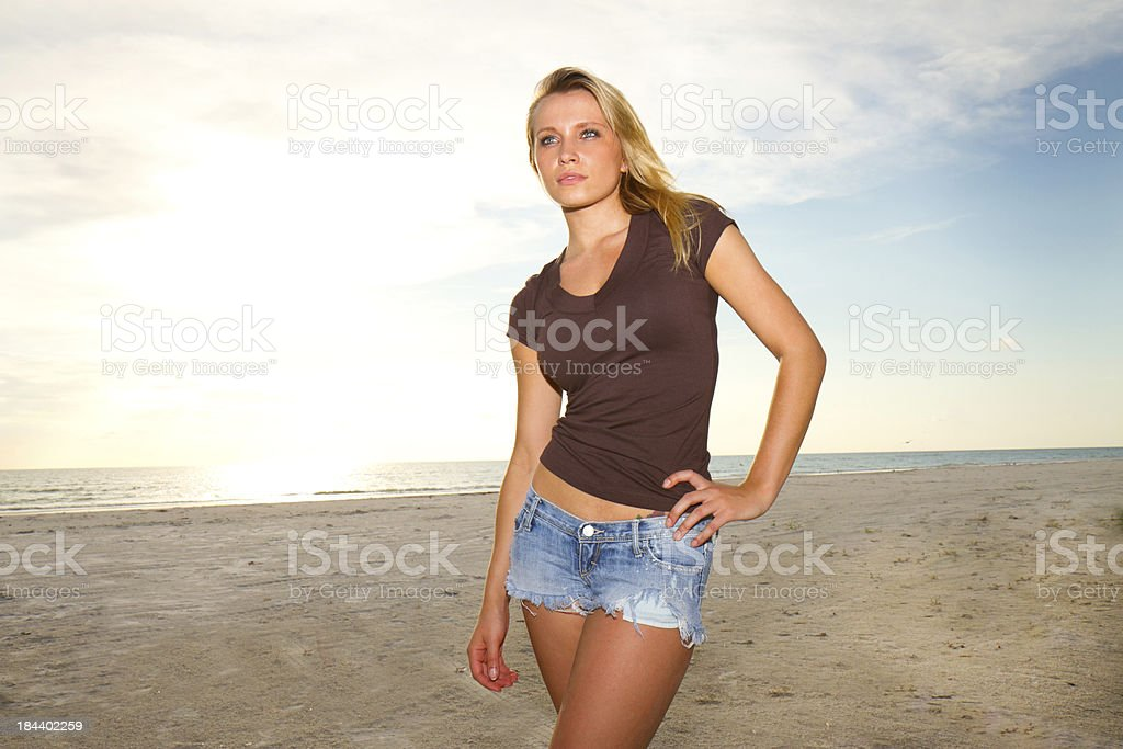 Beautiful woman at the beach royalty-free stock photo