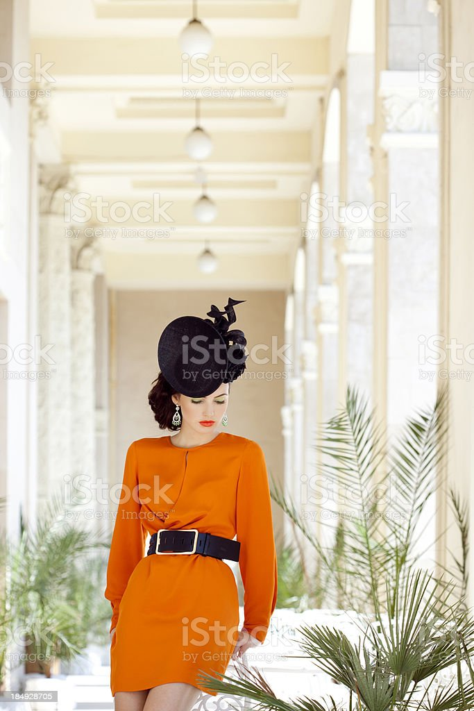 Beautiful woman at the cafe royalty-free stock photo