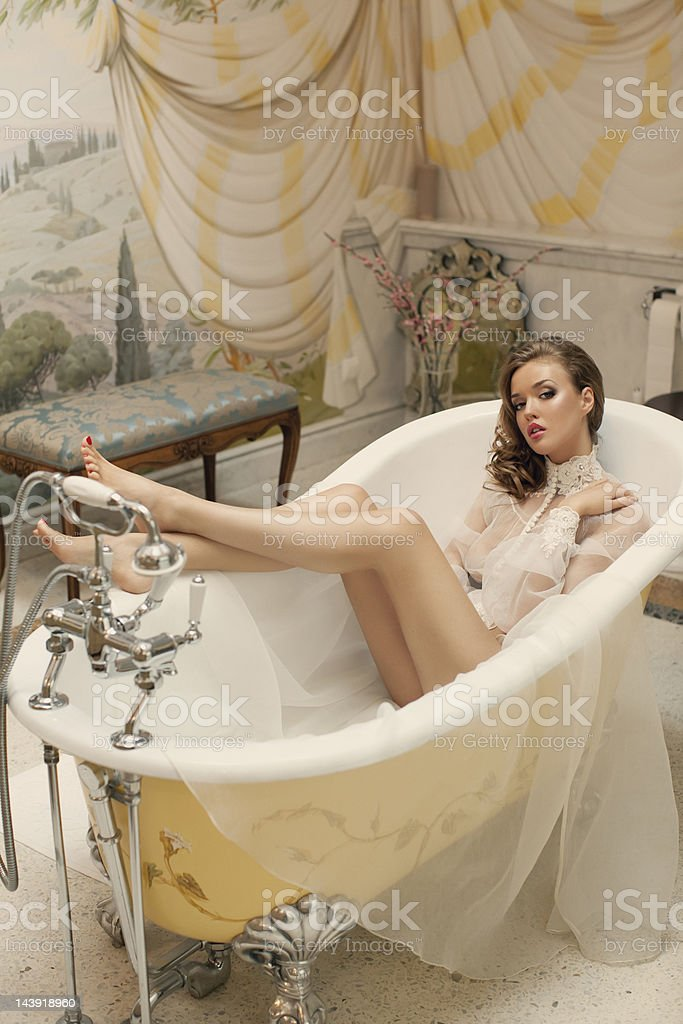 Beautiful woman at the luxury bathroom royalty-free stock photo