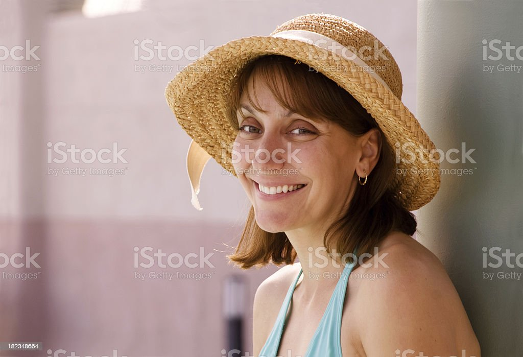 Beautiful Woman at the Pool stock photo