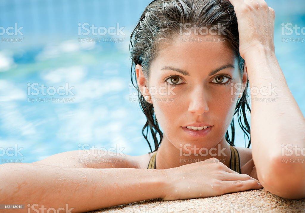 Beautiful Woman at the Pool with stunning Eyes (XXXL) royalty-free stock photo