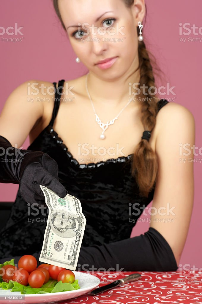 Beautiful woman at the restaurant royalty-free stock photo