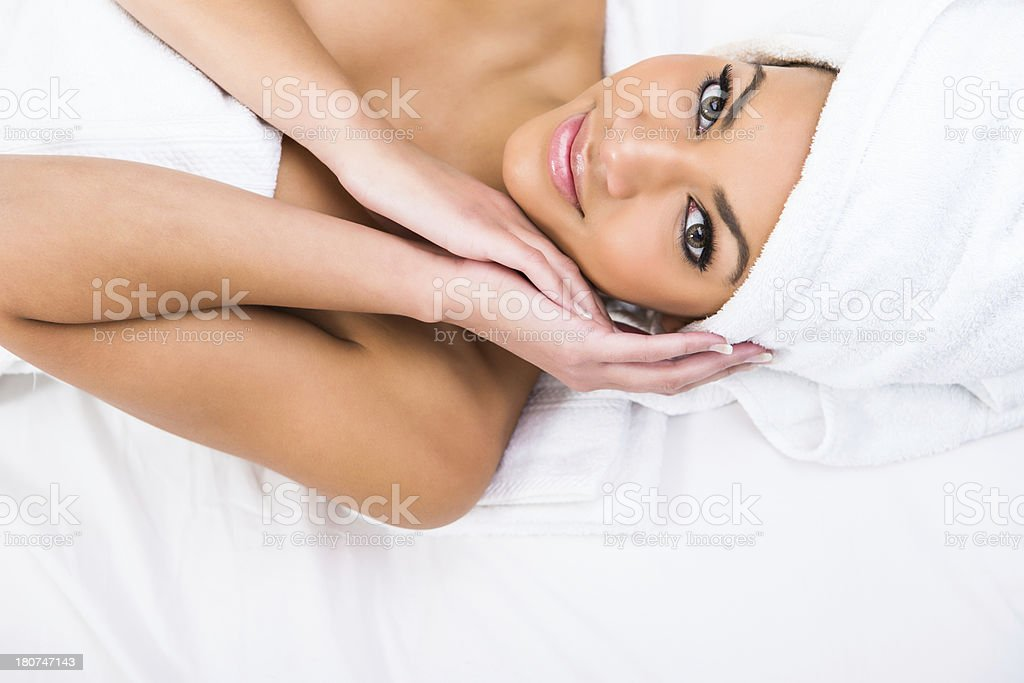 Beautiful woman at the spa royalty-free stock photo